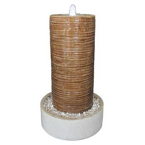 """1"""" x 19"""" x 32"""" Tan, Ribbed Column, Round Base With Pebbles - Indoor/Outdoor Fountain"""