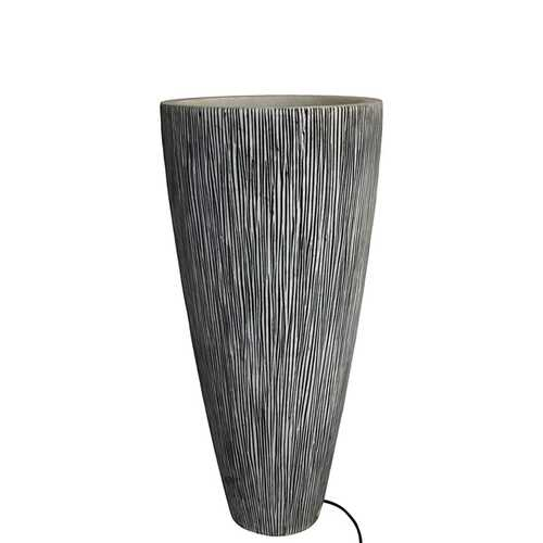 "1"" x 18"" x 39"" Gray, Sandstone, Ribbed Long Conical - Planter With Light"