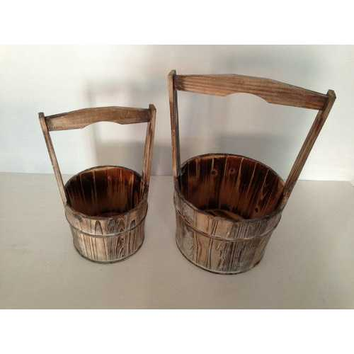 Brown 2 Piece Wood Garden Planter