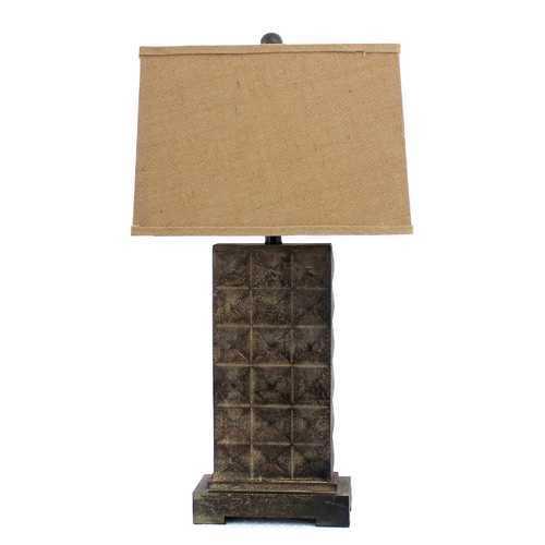 """4.75"""" x 9.5"""" x 29.5"""" Brown, Vintage With Metal Pedestal - Table Lamp"""