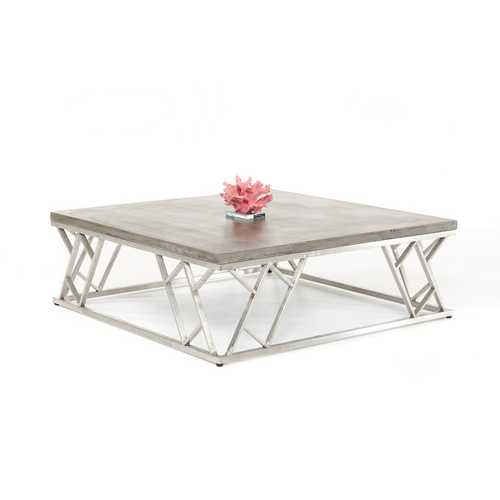"""13"""" Concrete and Steel Coffee Table"""