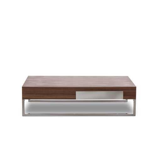 "13"" Walnut Veneer, Steel, and Glass Coffee Table"