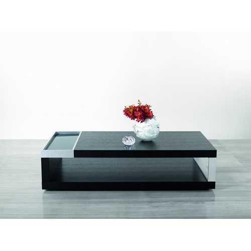 "13"" Black Oak Veneer, Glass, and Aluminum Coffee Table"