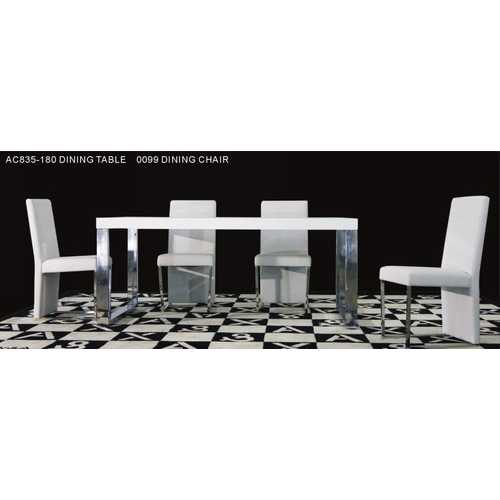 """30"""" White MDF Extendable Dining Table with Stainless Steel Legs"""