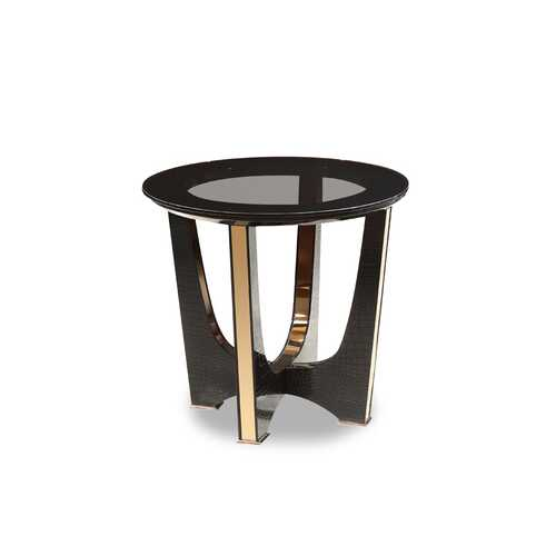"22"" Black Crocodile and Rosegold End Table"