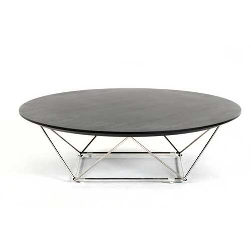 "11"" Wenge Veneer and Stainless Steel Coffee Table"