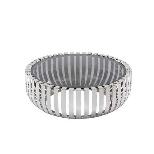 """14"""" Glass and Stainless Steel Round Coffee Table"""