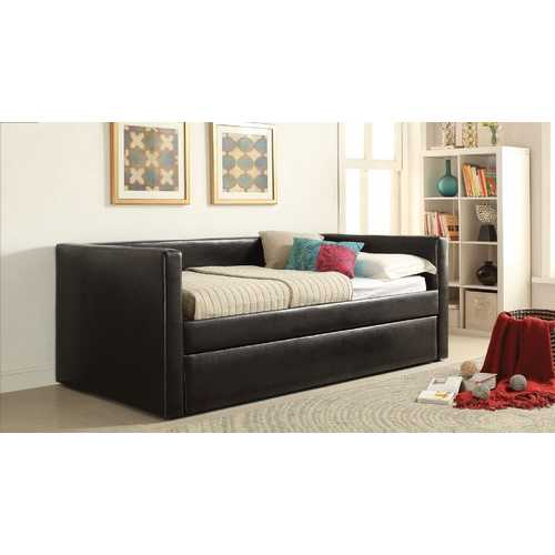 "88"" X 43"" X 34"" Black Pu Twin Daybed And Trundle"