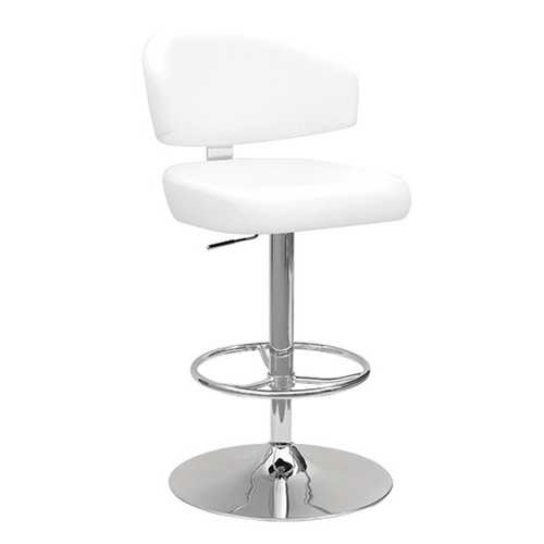 "21"" X 22"" X 38"" White And Chrome Swivel Adjustable Stool"