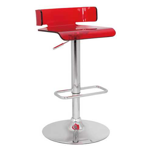 """15"""" X 16"""" X 26"""" Red And Chrome Swivel Adjustable Stool"""