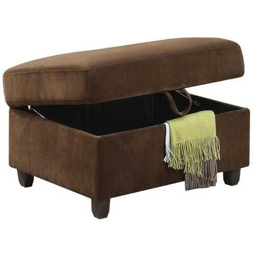 "35"" X 25"" X 19"" Chocolate Velvet Ottoman With Storage"