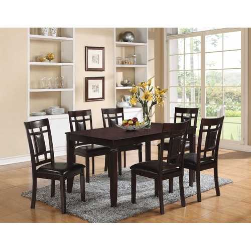 "36"" X 60"" X 30"" 7Pc Espresso And Espresso Pu Dining Set"