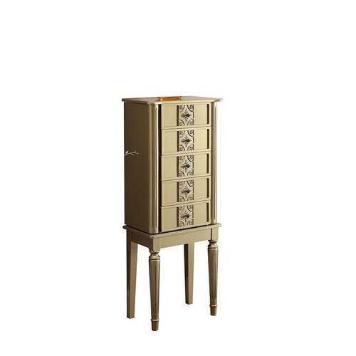 """16"""" X 10"""" X 40"""" Gold Mirror Jewelry Armoire"""