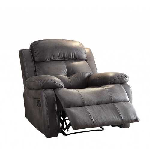"40"" X 40"" X 37"" Gray Polished Microfiber Fabric Recliner"