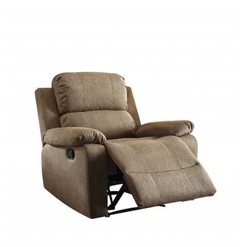 """38"""" X 38"""" X 39"""" Taupe Polished Microfiber Fabric Recliner"""