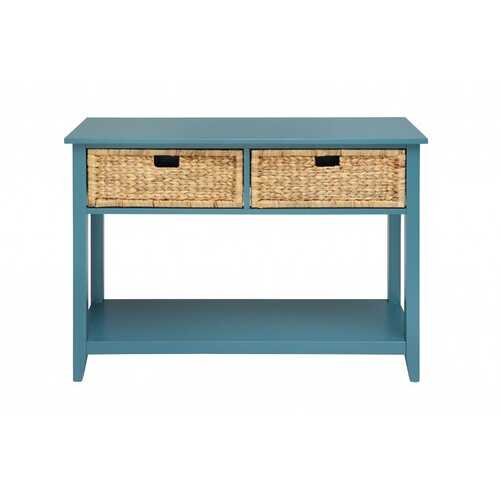 "44"" X 16"" X 28"" Teal Solid Wood Leg Console Table"