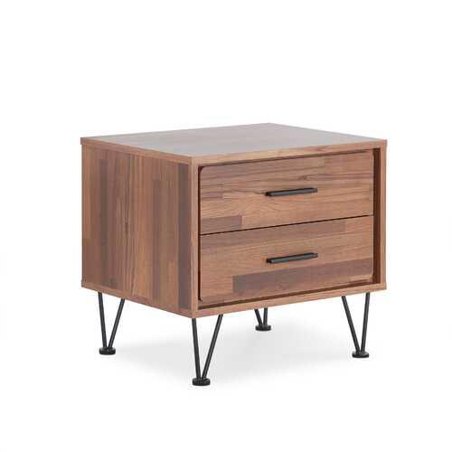 2 Walnut Wooden Drawer Nightstand