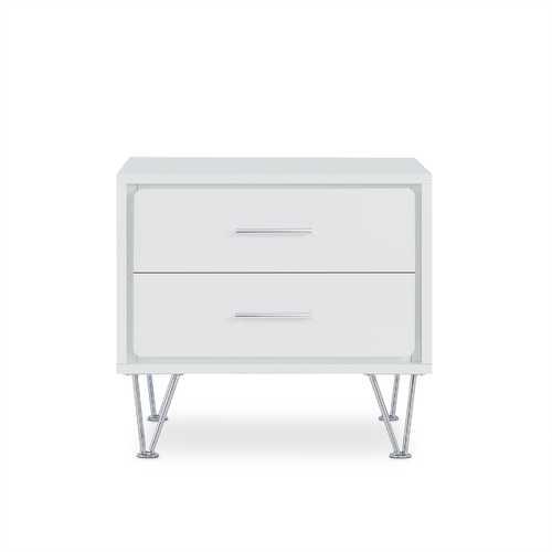 2 White Wooden Drawer Chrome Nightstand