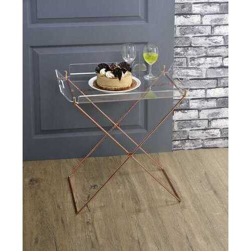 """27"""" X 19"""" X 34"""" Clear Glass And Gold Serving Cart"""