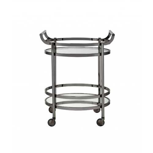 """27"""" X 19"""" X 34"""" Clear Glass And Black Nickel Serving Cart"""