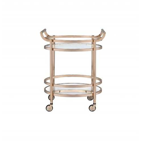 """27"""" X 19"""" X 34"""" Clear Glass And Rose Gold Serving Cart"""