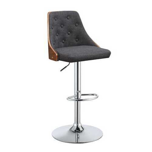 "34"" Dark Grey Fabric Seat with Metal Base Adjustable Bar Stool with Swivel"