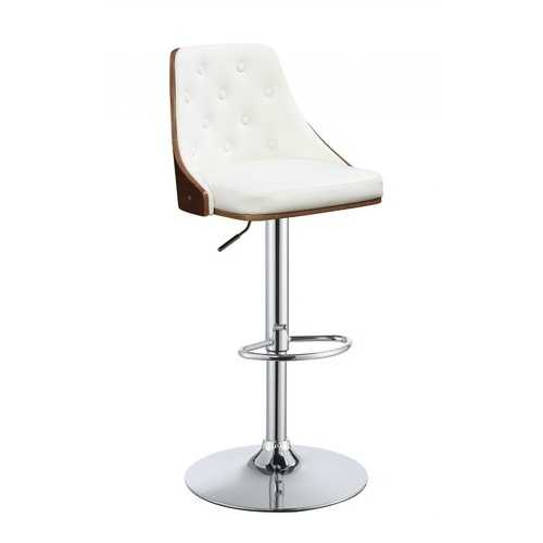 "33"" Cream White Faux Leather Adjustable Swivel Bar Stool with Metal Base"