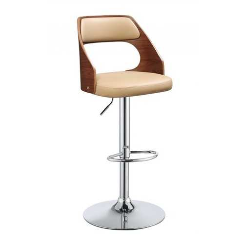"33"" Sleek Walnut Finish Tan Faux Leather Adjustable Swivel Bar Stool with Chrome Base"