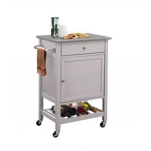 """25"""" X 17"""" X 34"""" Stainless Steel And Gray Kitchen Cart"""