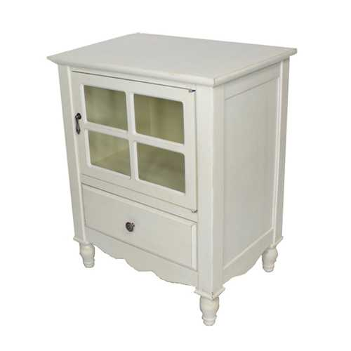 28' Antique White Wood Clear Glass Accent Cabinet with a Drawer and a Door