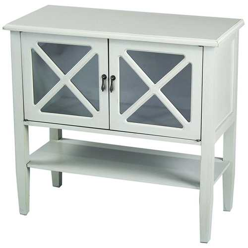 2-Door Console Cabinet W/ Lattice Glass Inserts And Shelf - Mdf, Wood Clear Glass In Light Sage