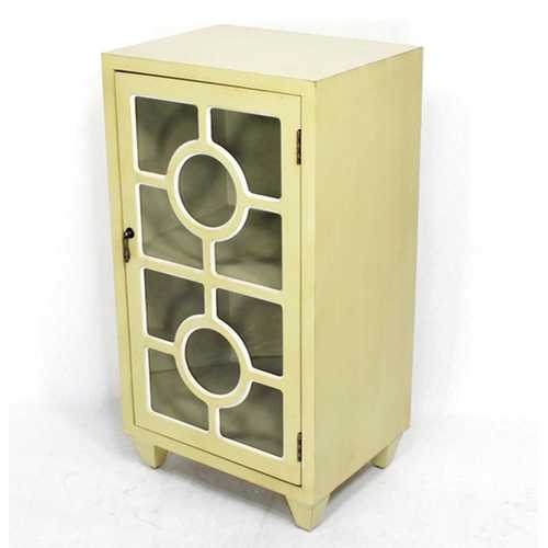 """16.75"""" X 12.6"""" X 31"""" Beige MDF Wood Clear Glass Accent Cabinet with a Door and Lattice Inserts"""