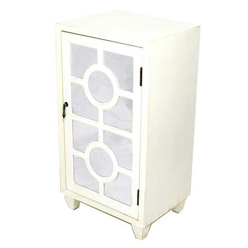 """16.75"""" X 12.6"""" X 31"""" Antique White MDF Wood Mirrored Glass Accent Cabinet with a Door and Lattice Inserts"""