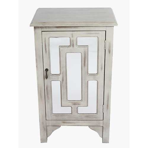 "30"" Taupe Wash Wood Mirrored Glass Accent Cabinet with a Door and Mirror Inserts"