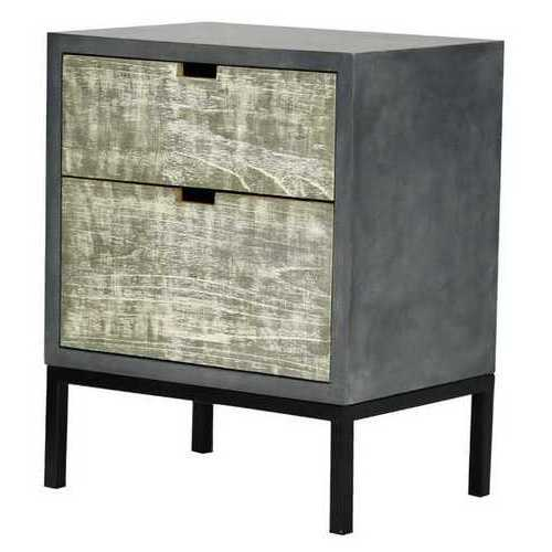 27' Distressed Gray Iron Accent Cabinet with 2 Wood Drawers