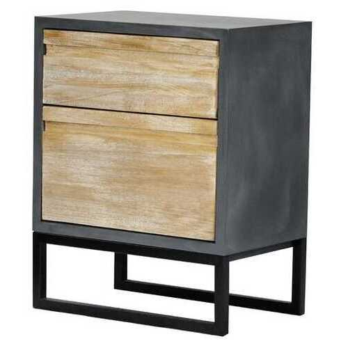 27' Distressed Gray Wood Accent Cabinet with 2 Drawers