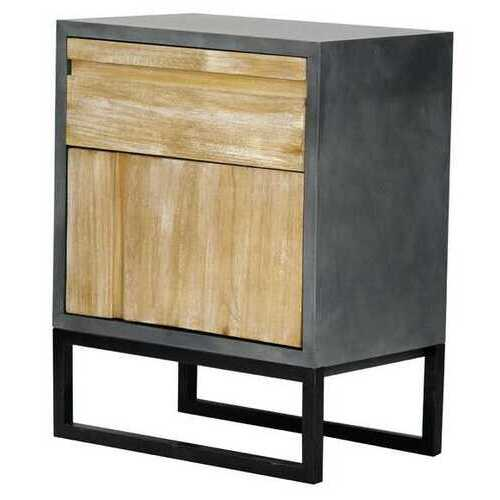 27' Distressed Gray Wood Accent Cabinet with a Drawer and a Door