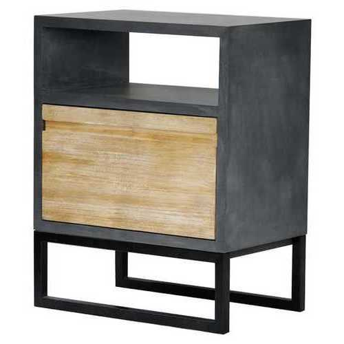 27' Distressed Gray Wood End Table with a Shelf and a Drawer
