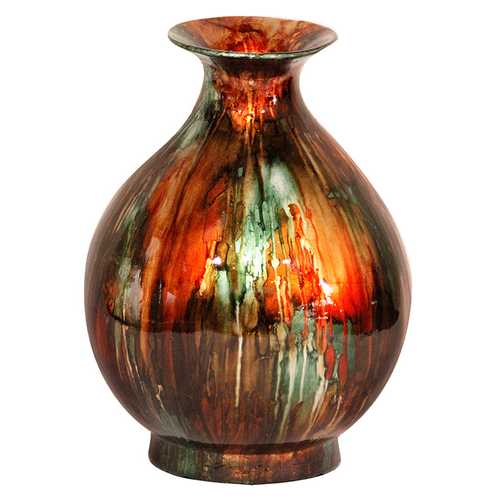 "19"" Foiled & Lacquered Ceramic Vase - Ceramic, Lacquered In Turquoise, Copper And Bronze"