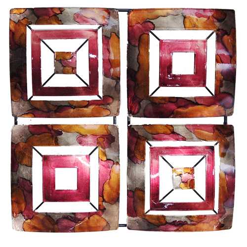 4-Panel Square Metal Wall Decor - Metal, Lacquered
