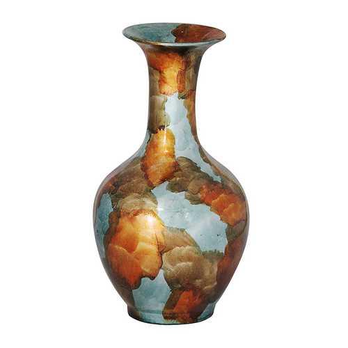 """18"""" Foiled & Lacquered Ceramic Vase - Ceramic, Lacquered In Copper, Gold And Aqua"""