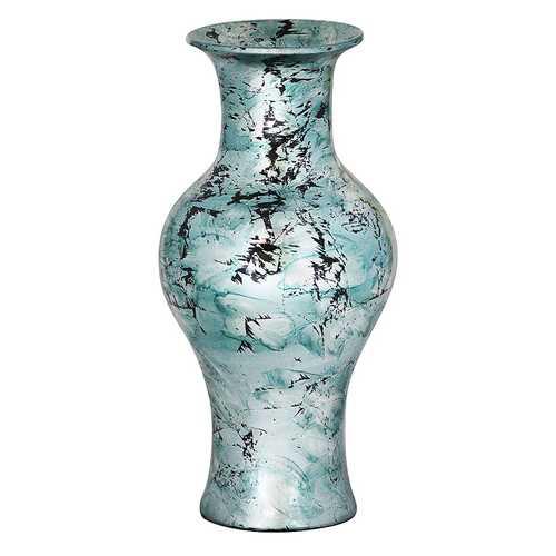 """18"""" Foiled & Lacquered Ceramic Vase - Ceramic, Lacquered In Aqua W/ Black Show-Through"""