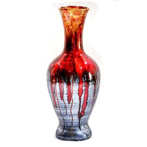 "18"" Foiled & Lacquered Ceramic Vase - Ceramic, Lacquered In Red And Gray"