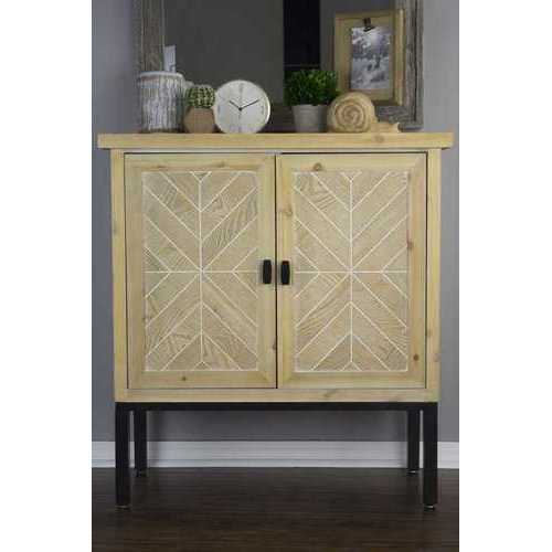 26' White Washed Parquet Iron Sideboard with an Iron Frame and 2 Wood Doors