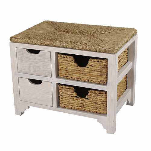 "20"" White Wood Bench with 2 Drawers, 2 Hyacinth Baskets, and a Seagrass Top"