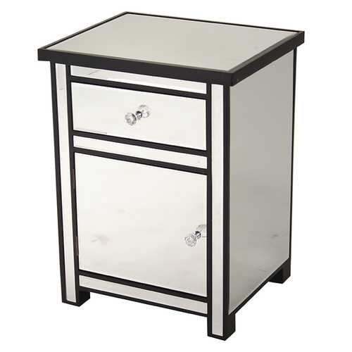 25.2' Black Wood Accent Cabinet with a Mirrored Glass Drawer and Door