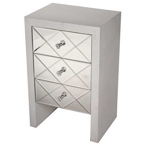 28' Antique White Wood Accent Cabinet with 3 Mirrored Glass Drawers