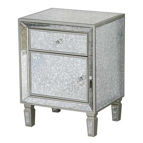 25.8' Champagne Wood Accent Cabinet with a Drawer, a Door and a Formal Mirror Frame