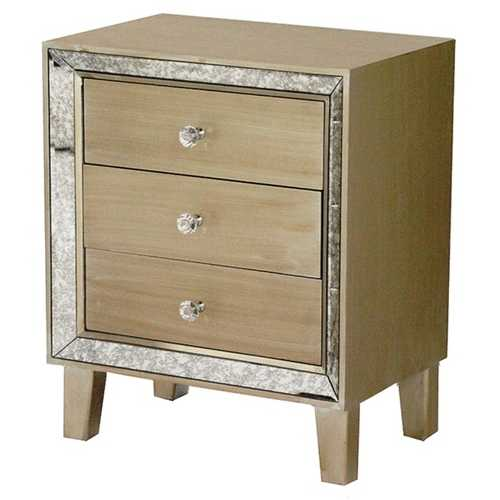 23.5' Champagne Wood Accent Cabinet with 3 Drawers & a Mirror Frame