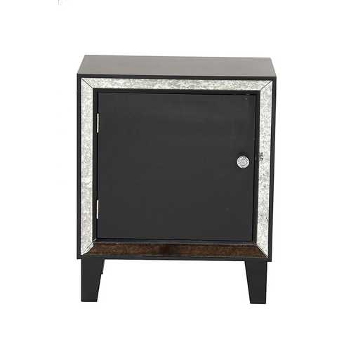 23.5' Black Wood Accent Cabinet with a Door and Antique Mirrored Glass